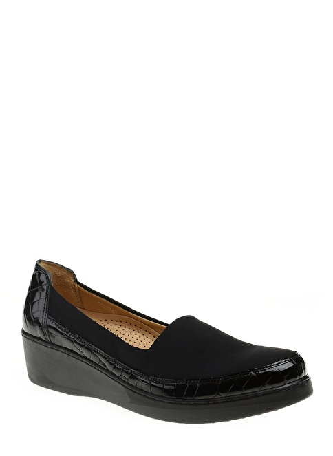Divarese Dolgu Topuk Klasik Ayakkabı Siyah